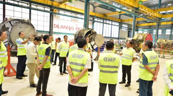 Wamenhan Tinjau Fasilitas MRO Pesawat PT GMF AeroAsia